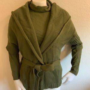 MAXMARA Olive Green Wool T-Neck Hooded Cardi Sz L